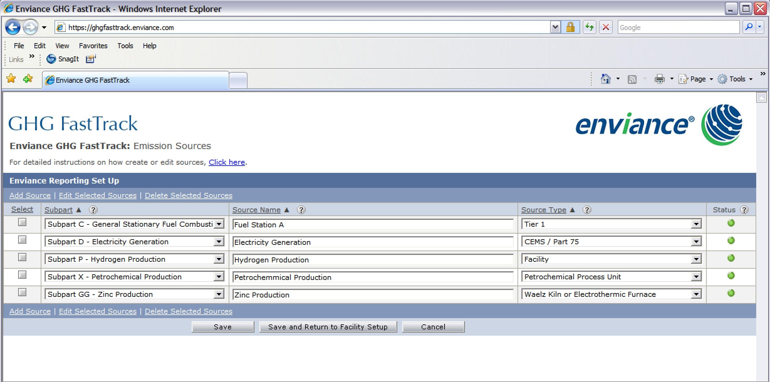 Enviance emission sources screenshot