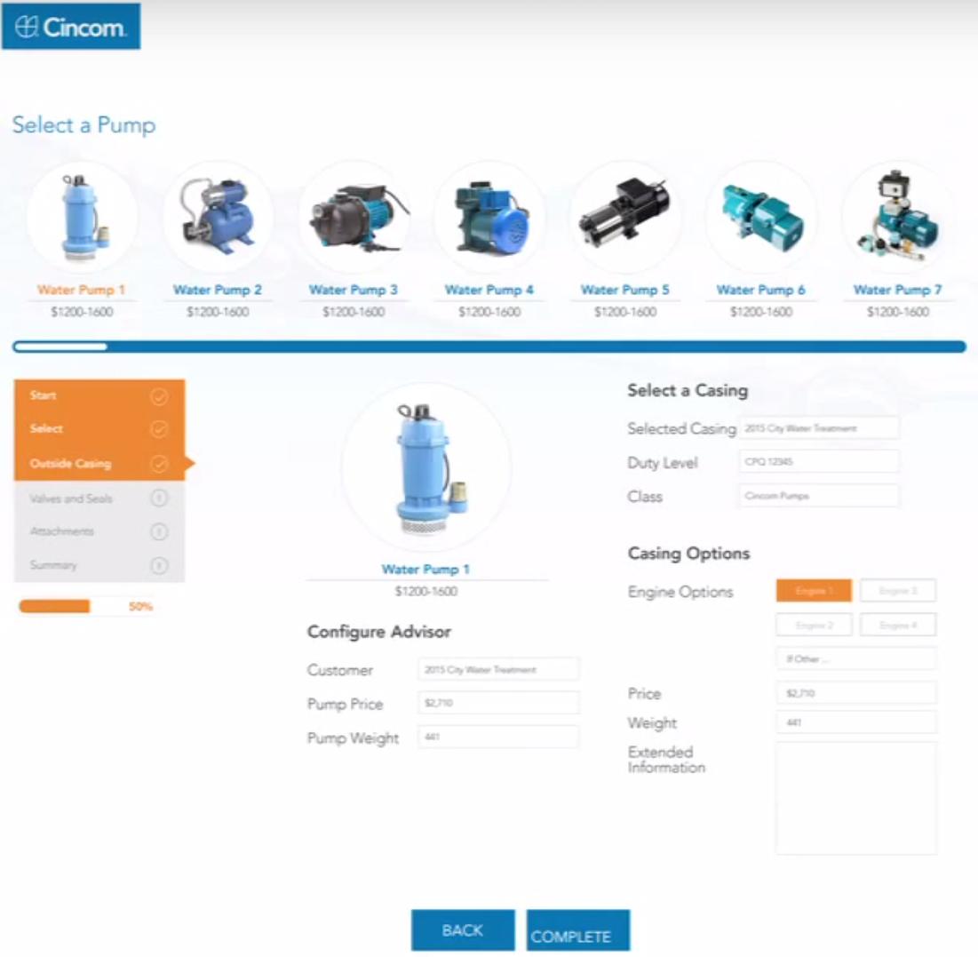 Cincom CPQ screenshot: PumpDemo-WaterPumps