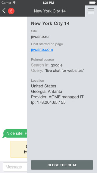 Visitor locations can be used to target chats and set the language of the JivoChat widget