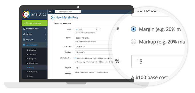 TapAnalytics custom margin/markup feature