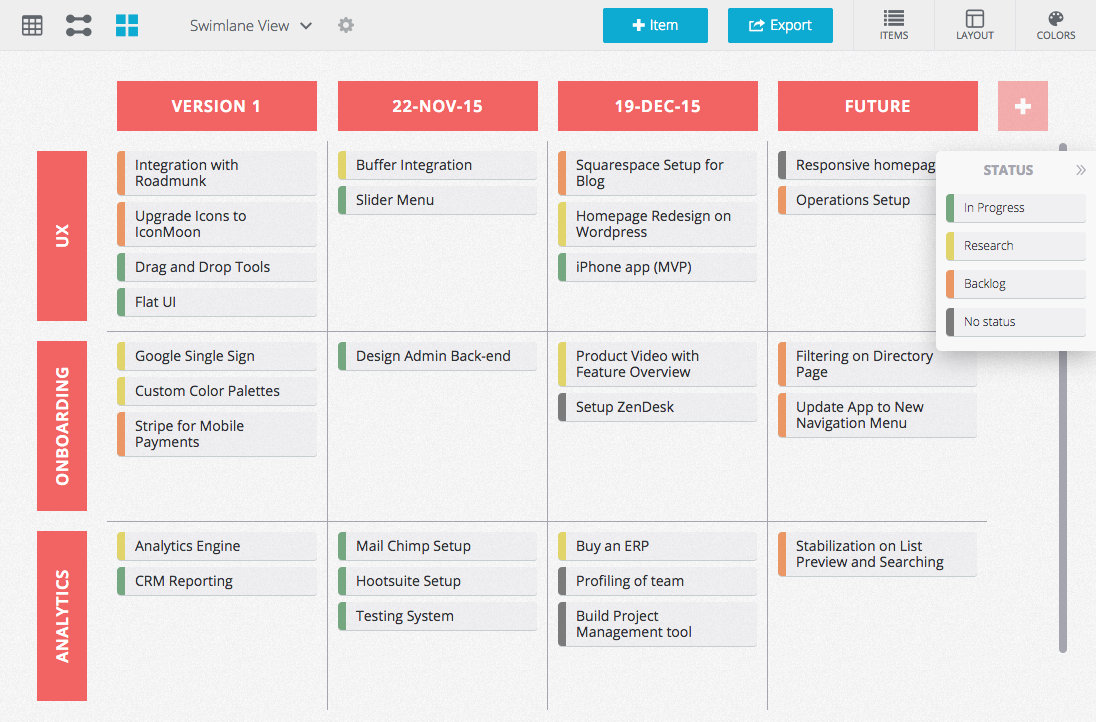 The release roadmap helps plan out long term releases across multiple product lines