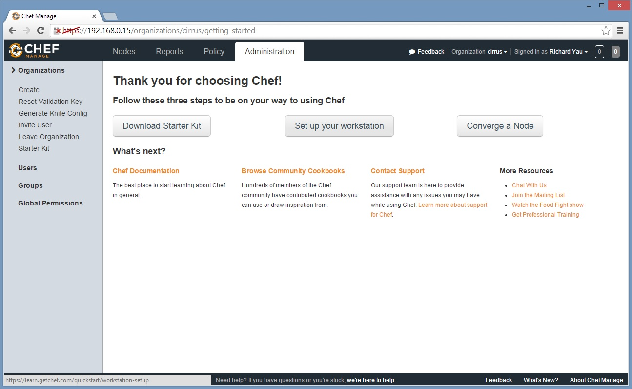 After clicking on 'download starter kit', users will be presented with a chef-starter.zip file