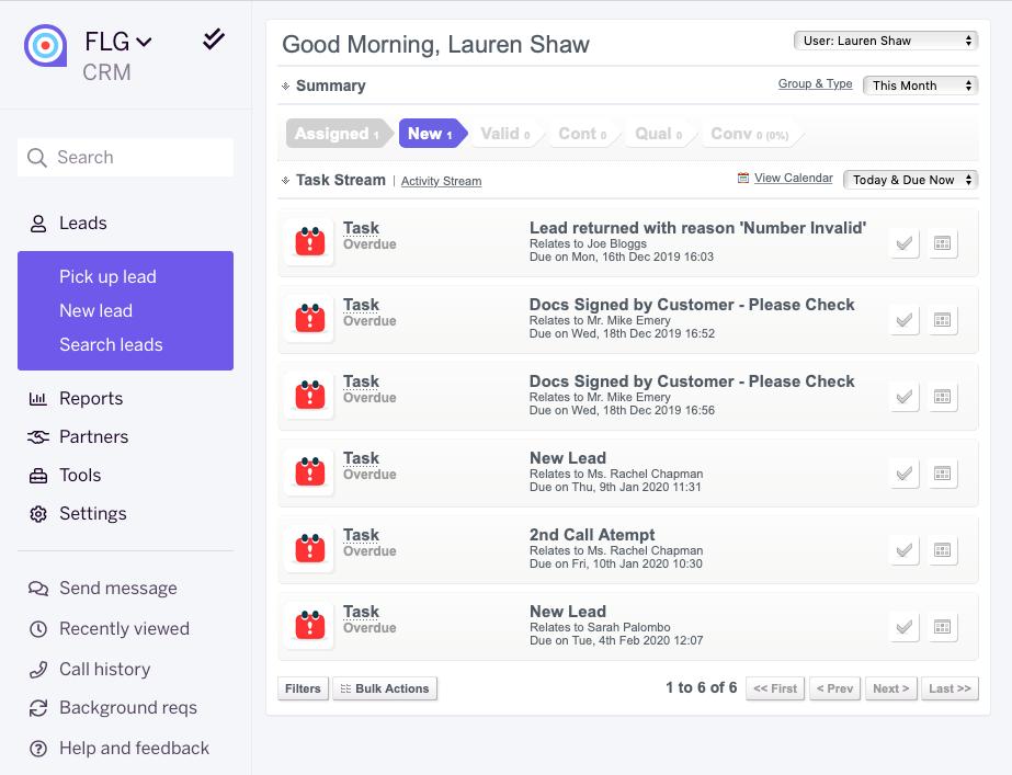 FLG user activity dashboard