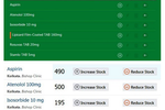 Clinicea screenshot: Integrated pharmacy and inventory functionality enables users to check whether a particular drug is in stock at the pharmacy or not in real time