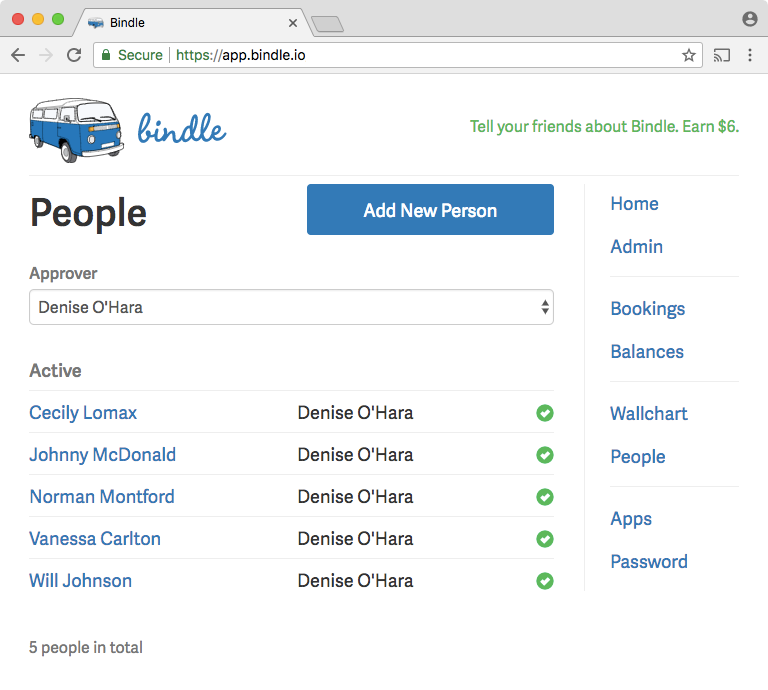 In Bindle, each employee can be assigned an approver who reviews their requests for time-off