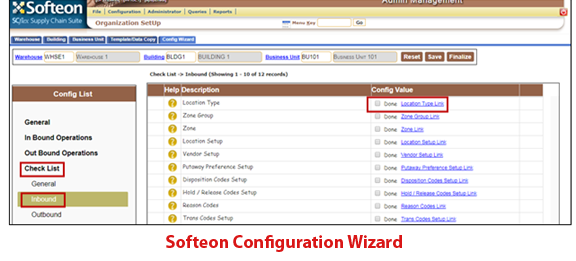 Softeon Warehouse Management System (WMS) Software - Configuration Wizard
