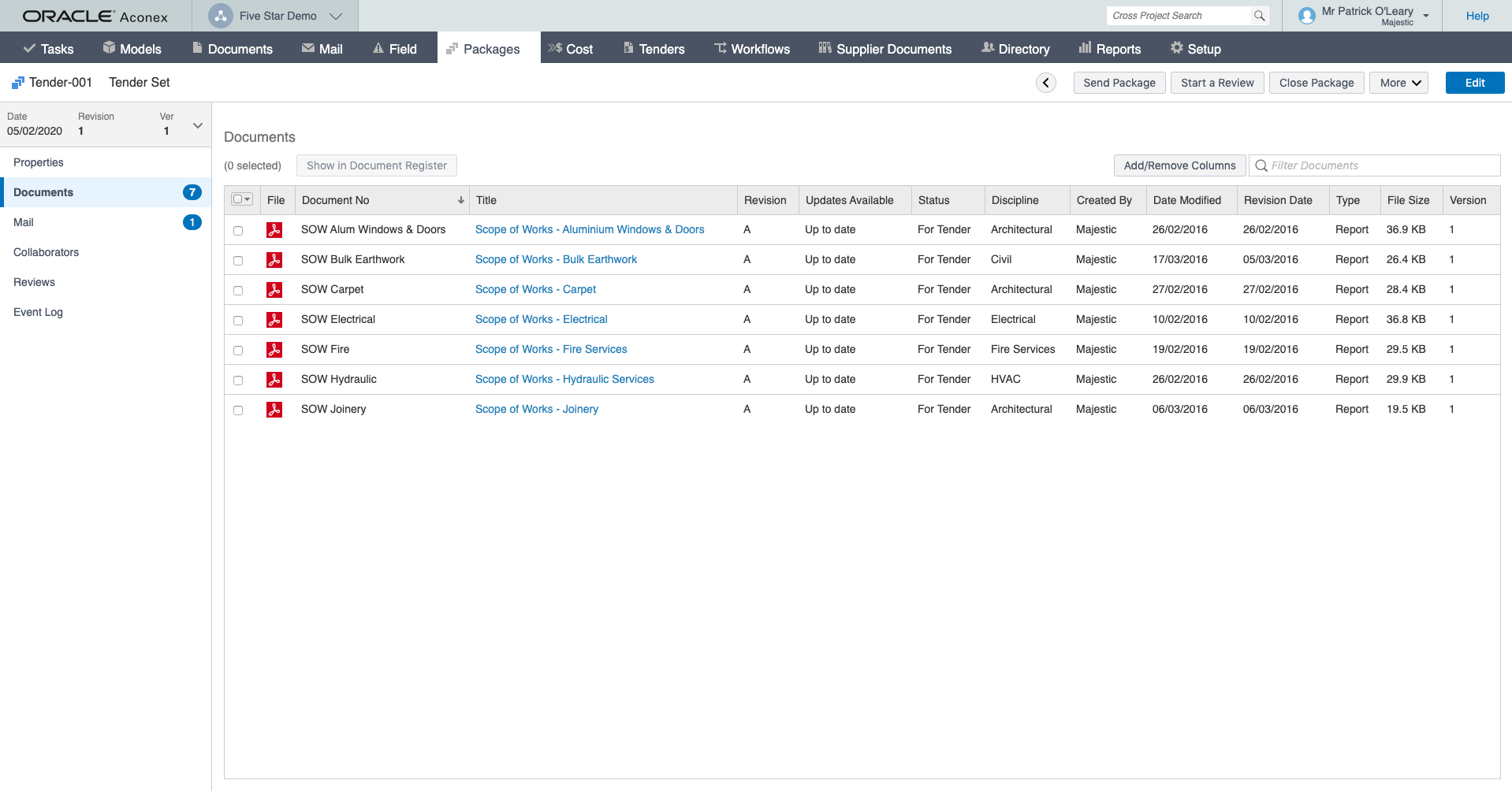 Oracle Aconex screenshot: Save up to 50 percent on document processing times. Easily manage millions of documents and models without limits on data or participants, including any size, type, or number of files.