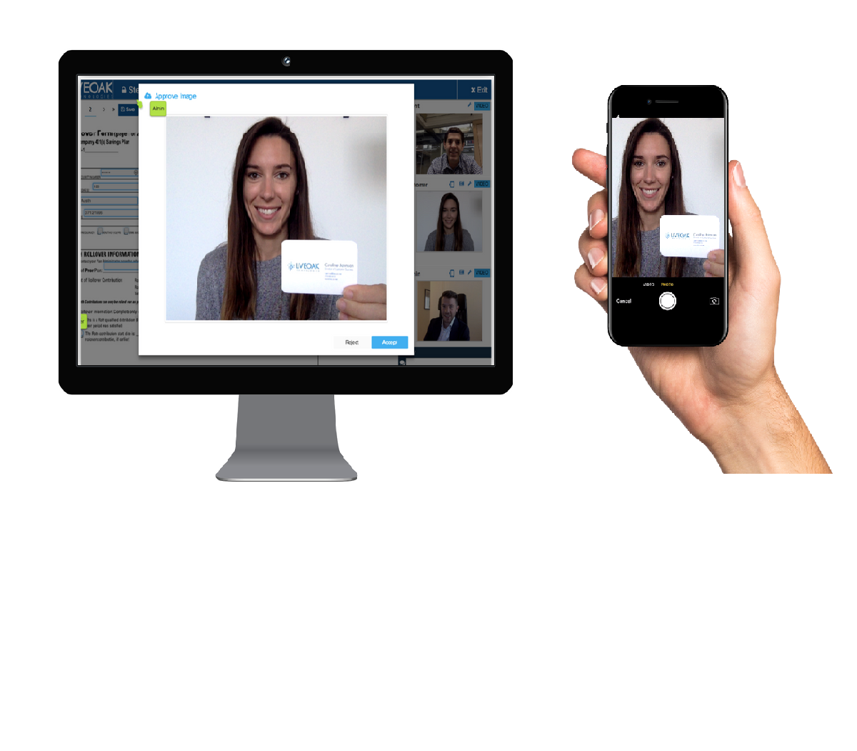 Upload selfies, wet signatures, photo identification and other required documentation through Liveoak's mobile upload.