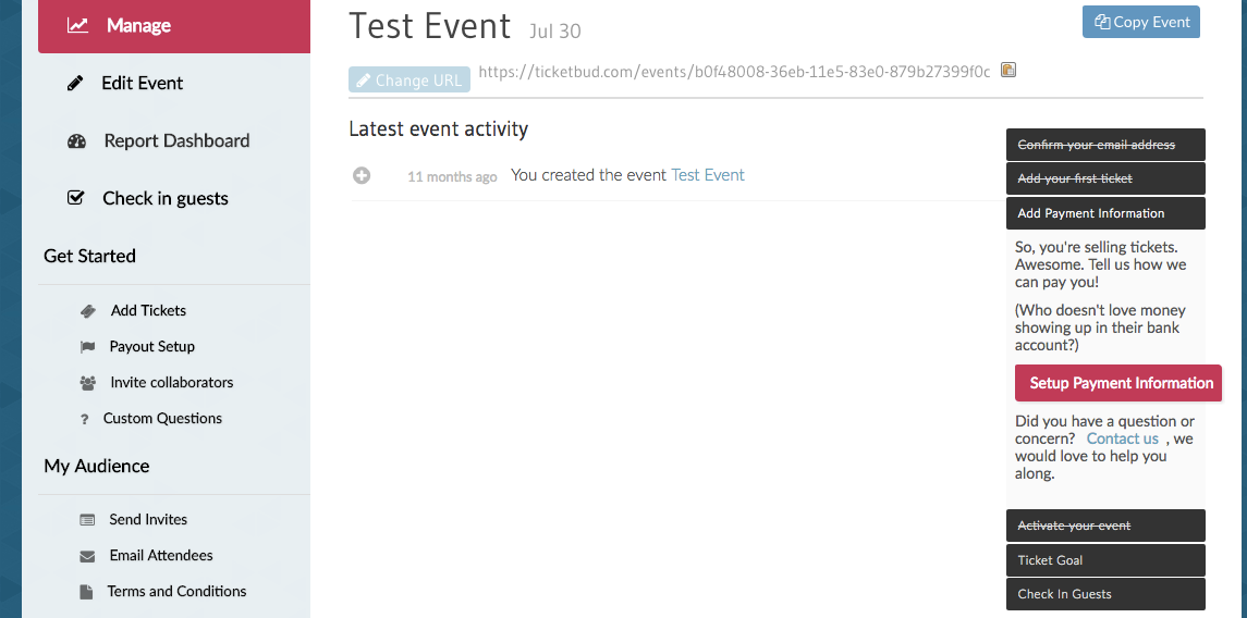 Ticketbud Software - Ticketbud events overview