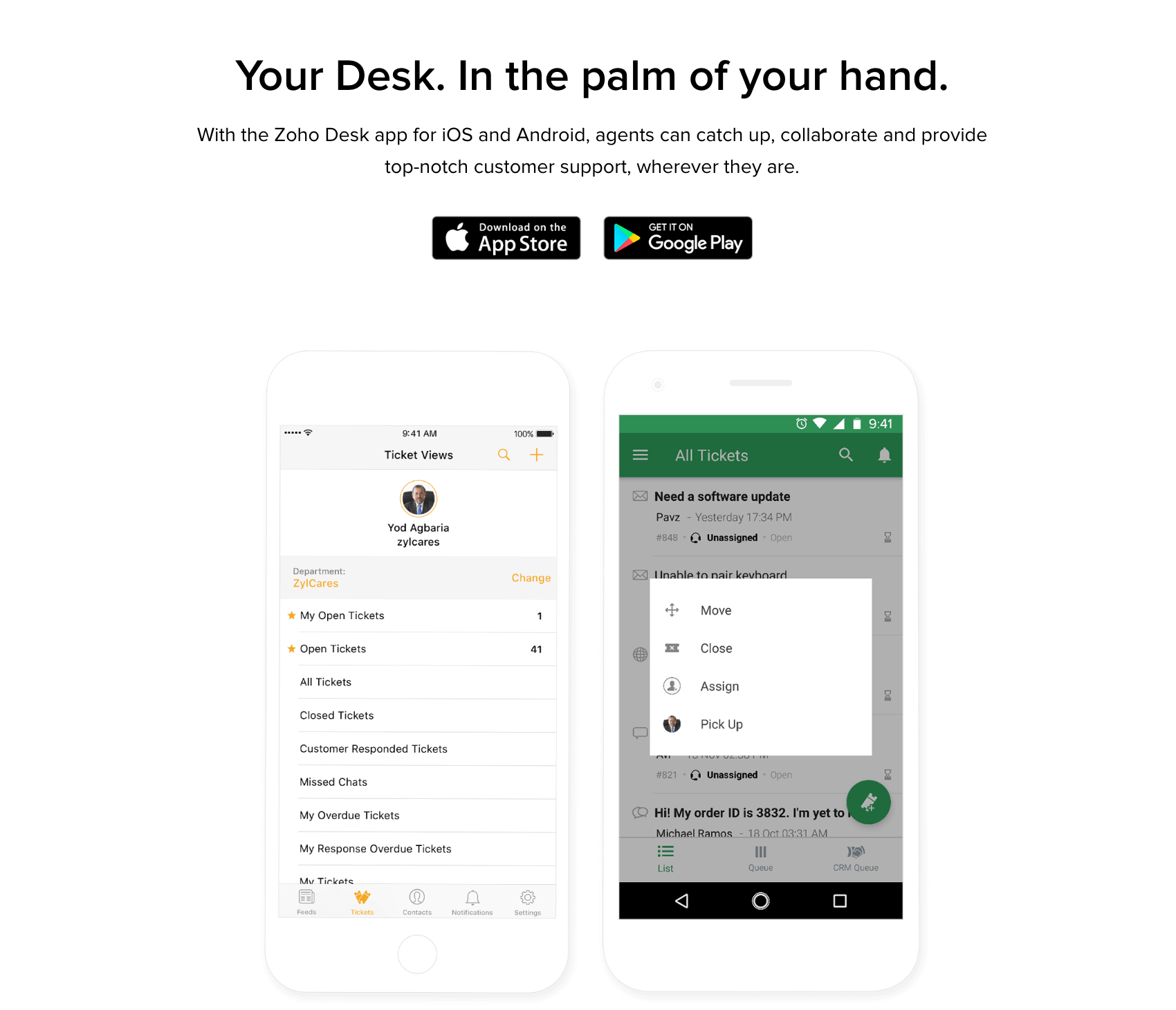 Zoho Desk Mobile App
