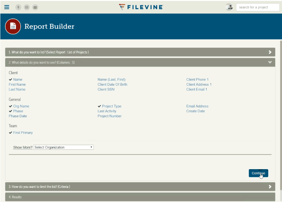 Report Builder features allow users to build customized reports