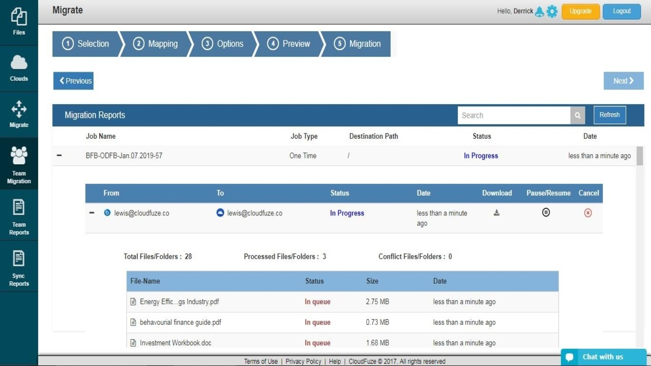 CloudFuze reports screenshot