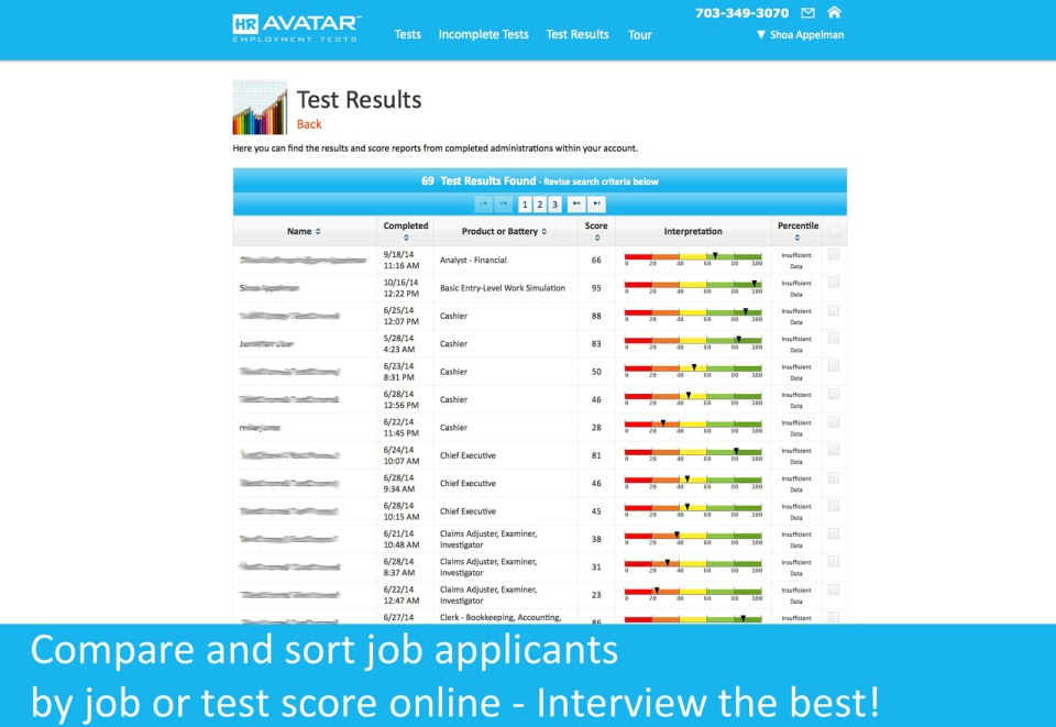 Compare and sort job applicants by job or test score.
