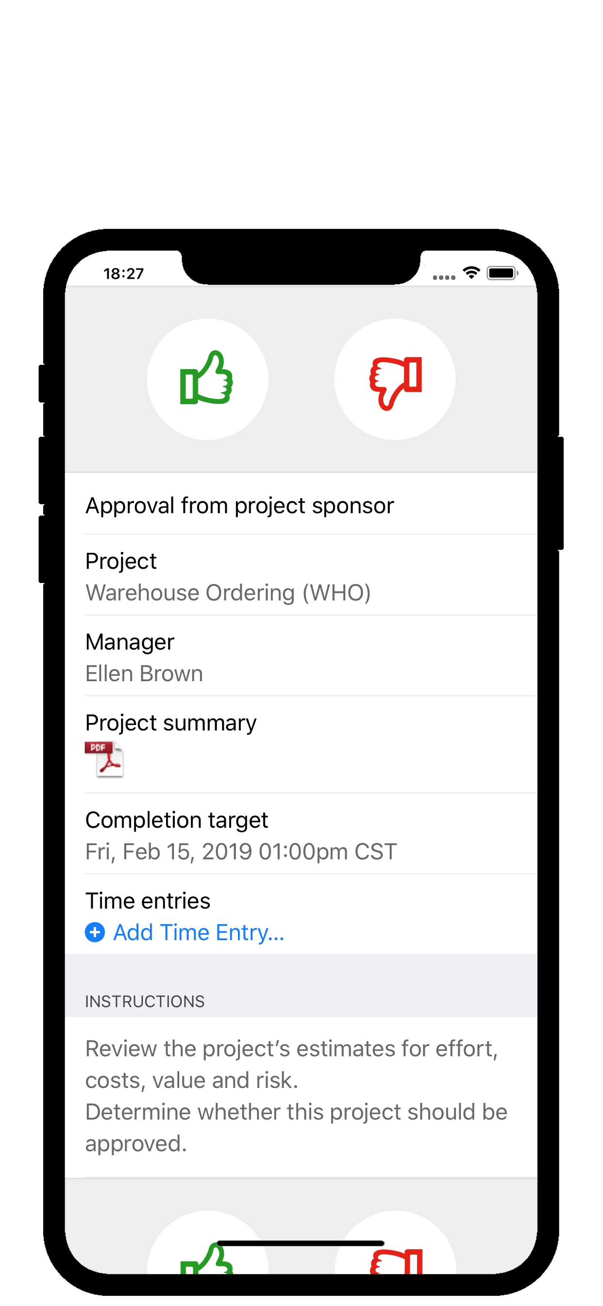 Project and change approval in the 4me app (IOS and Android)
