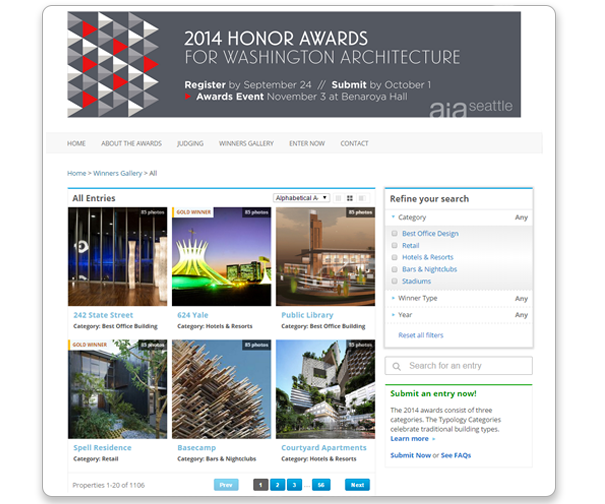 The awards management system lets users automatically create galleries of entries and winning submissions