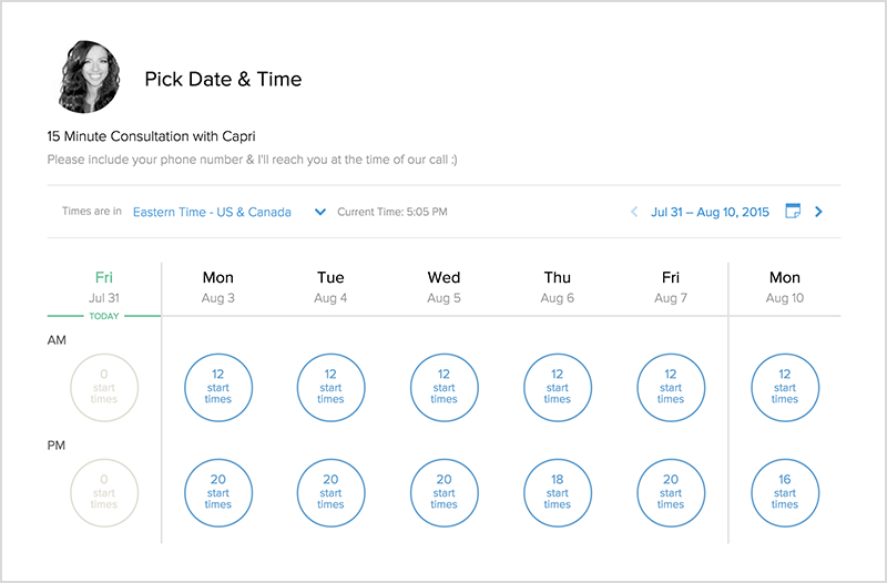 Calendly allows invitees to choose appointments from users' preset availability times
