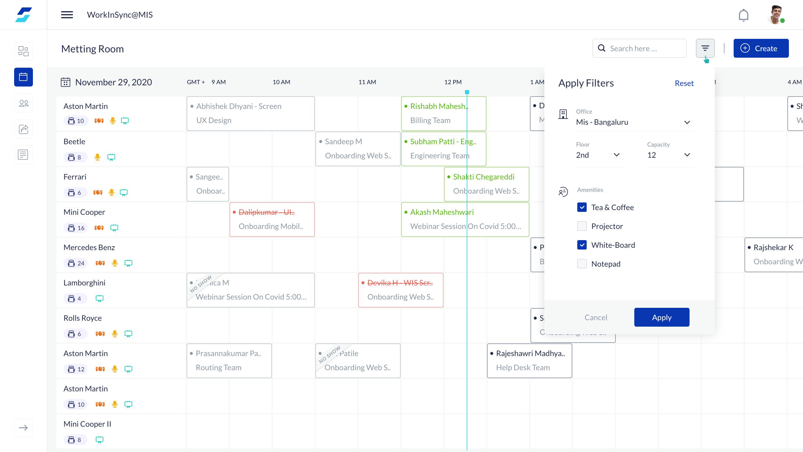 WorkInSync Software - Meeting Room Booking - Admin Dashboard