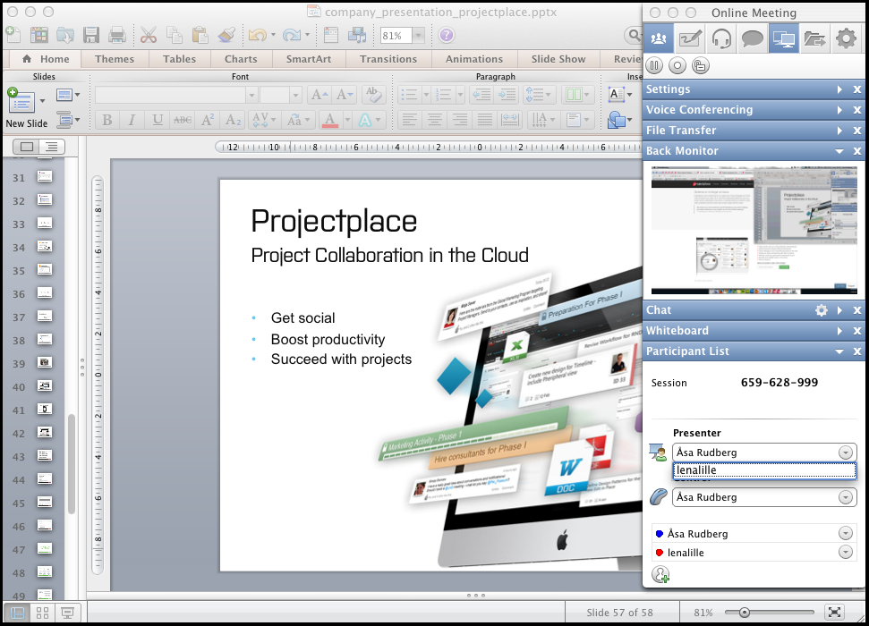 Online meeting tool in Projectplace