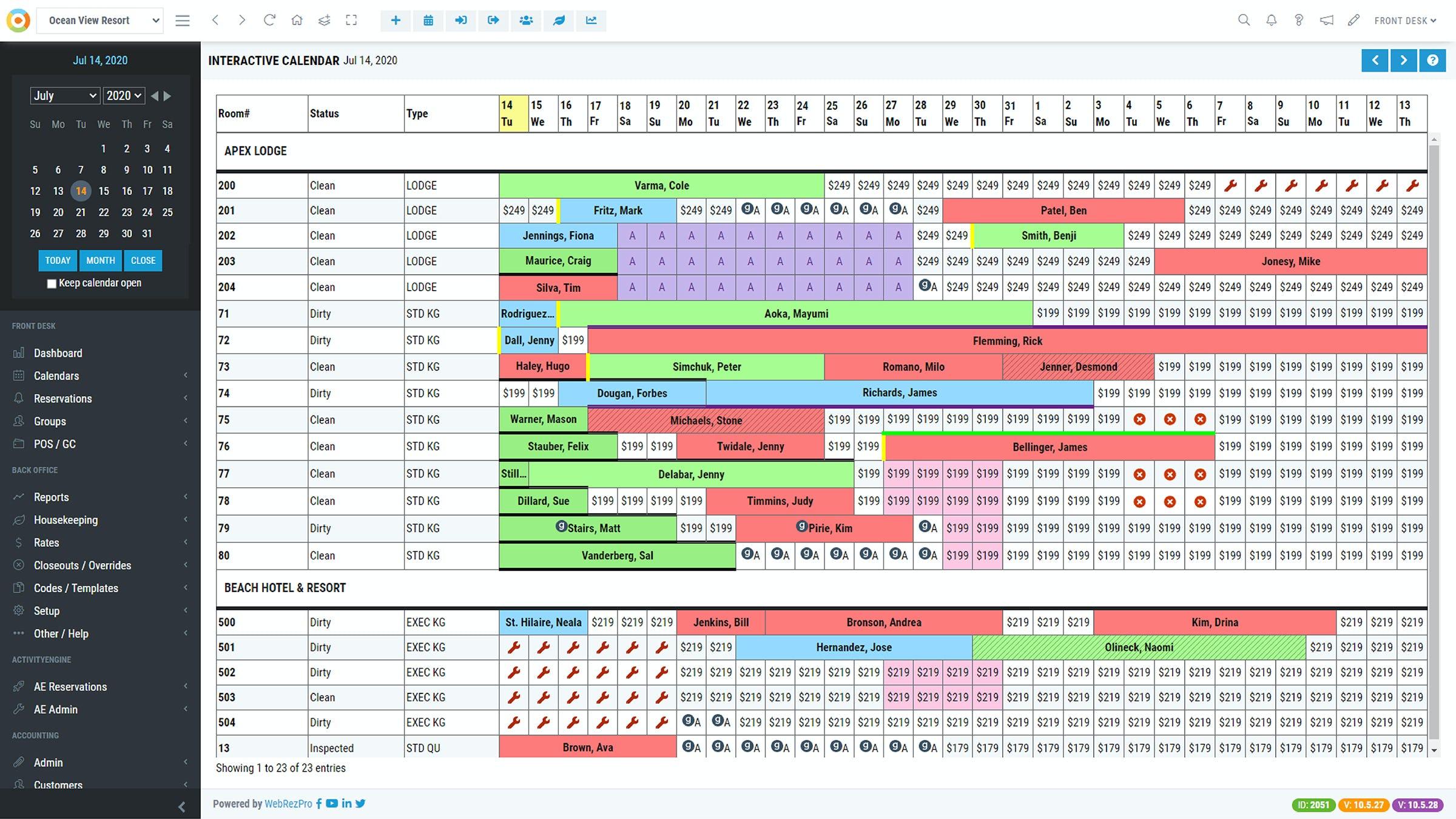 WebRezPro Software - WebRezPro Tape Chart