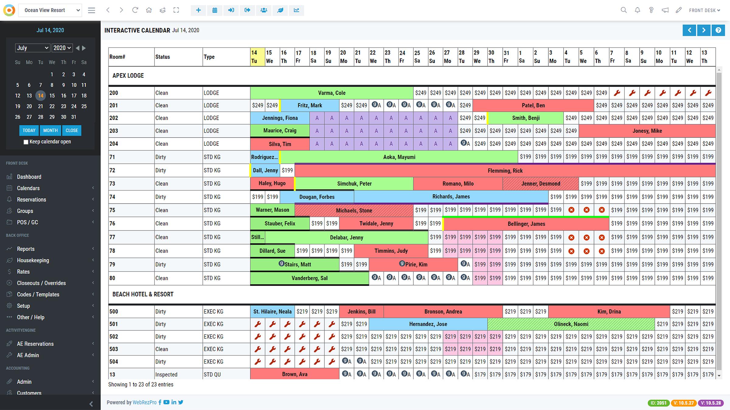 WebRezPro screenshot: WebRezPro Tape Chart