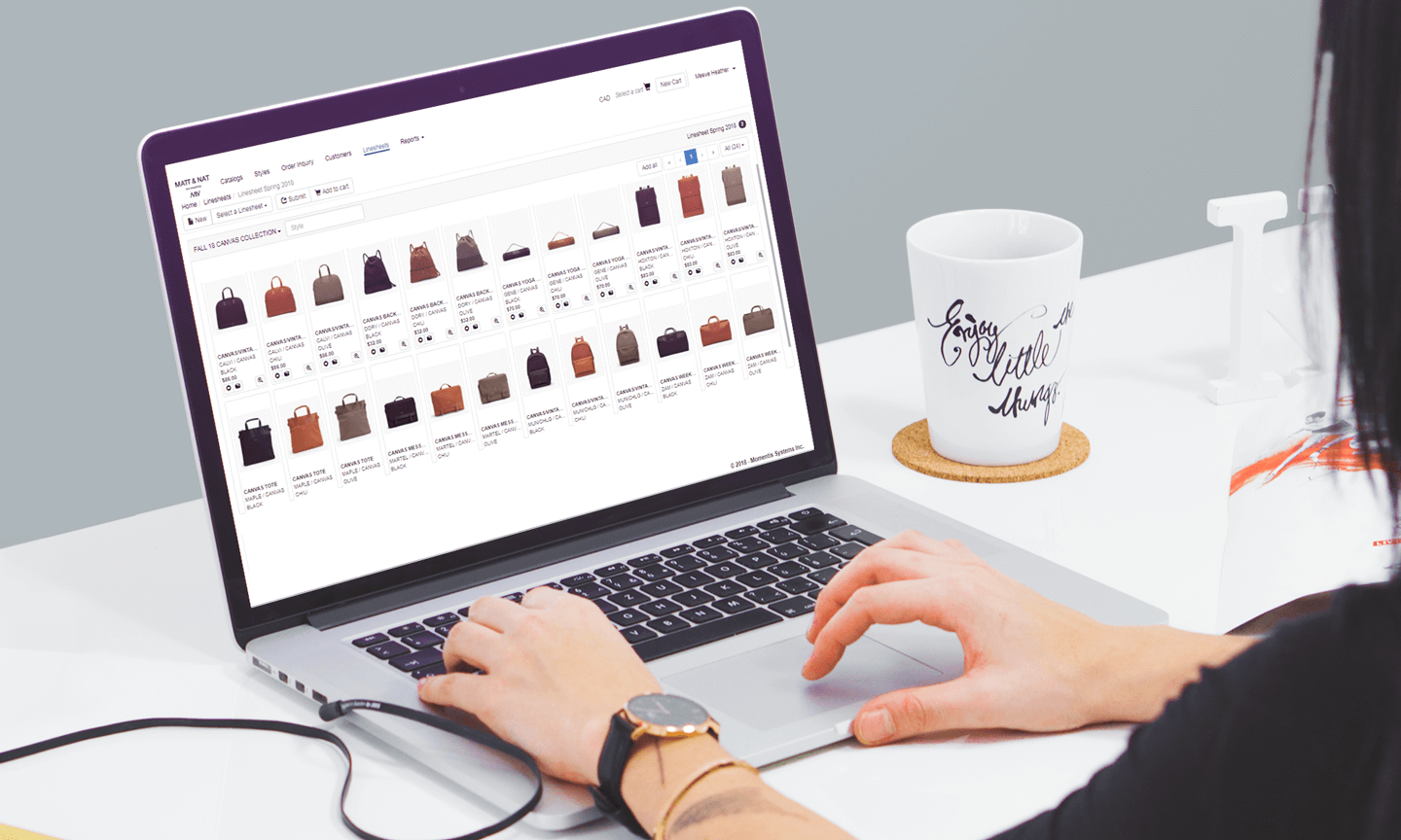 Momentis Fashion System screenshot: Users can access all of their business data from a centralized platform, including product, supply chain, warehouse and financial data