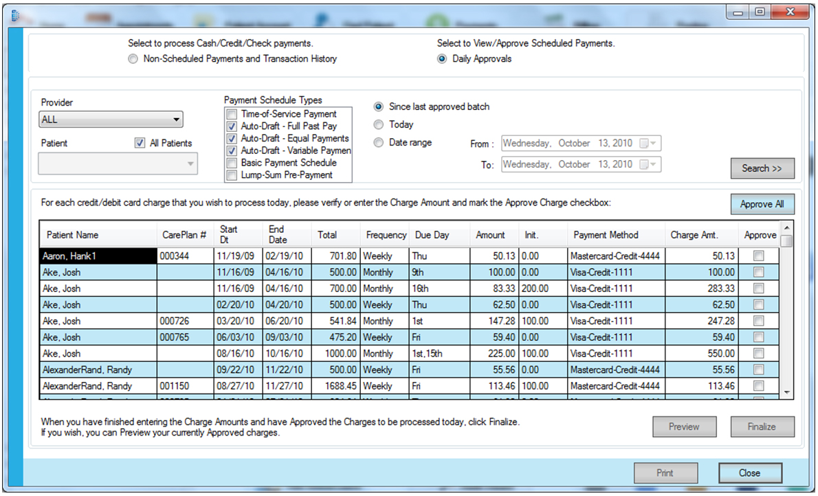 PayDC Chiropractic Software Software - Payments Report Generation Screen