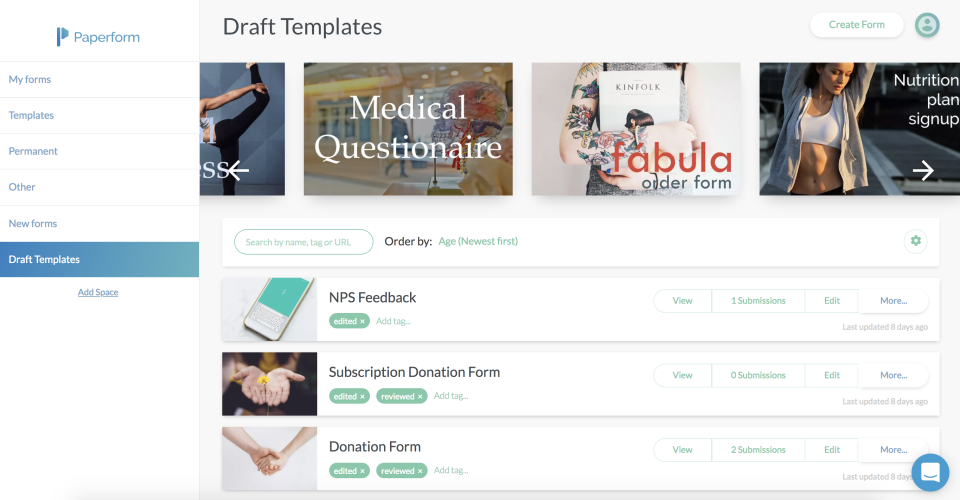 Users can manage all of their forms and draft templates