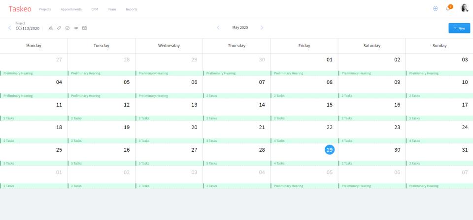 Taskeo calendar