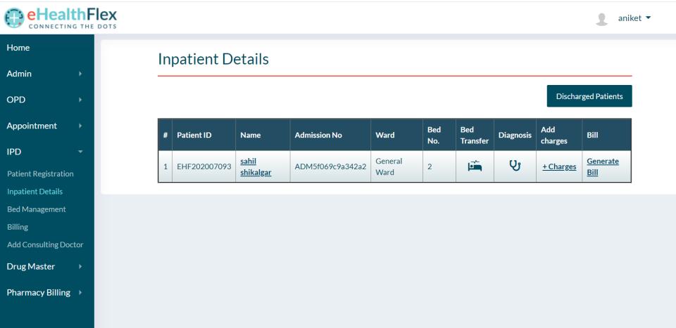 eHealthFlex in-patient dashboard