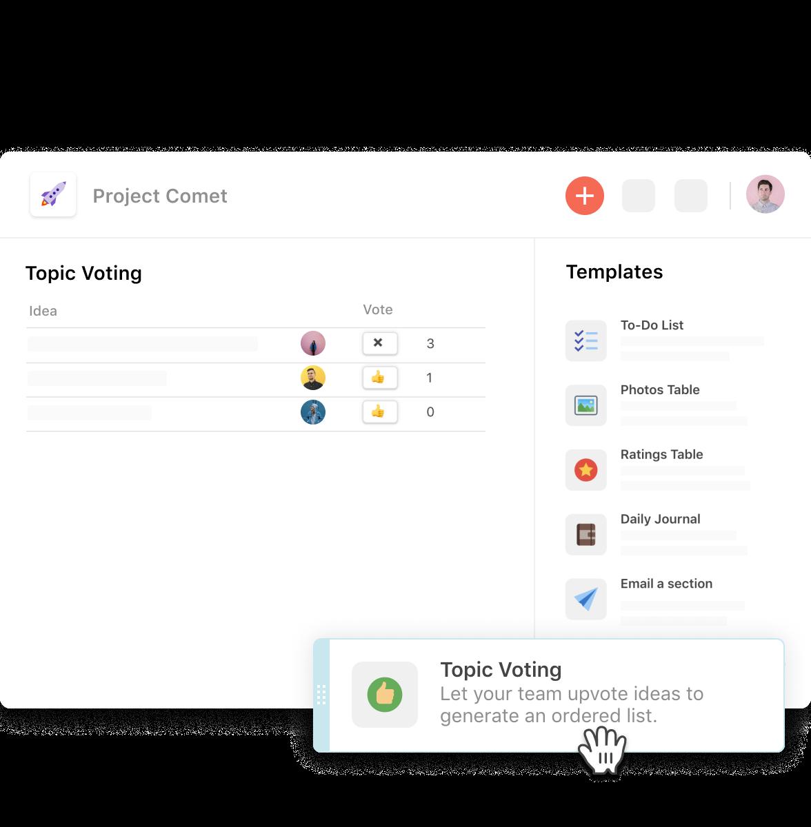 Coda drag-and-drop poll/survey creator