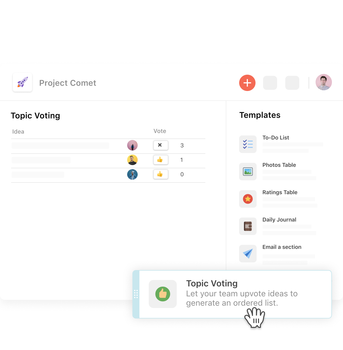 Coda screenshot: Coda drag-and-drop poll/survey creator