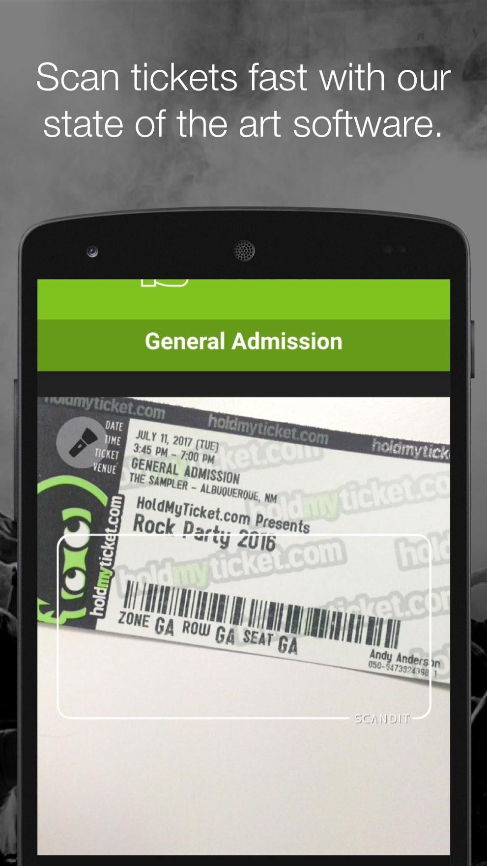 HoldMyTicket ticket barcode scanning
