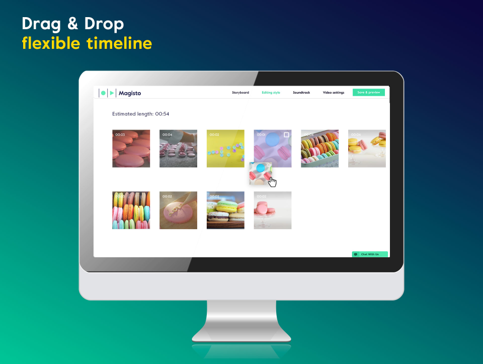 Drag and drop editor with customized images