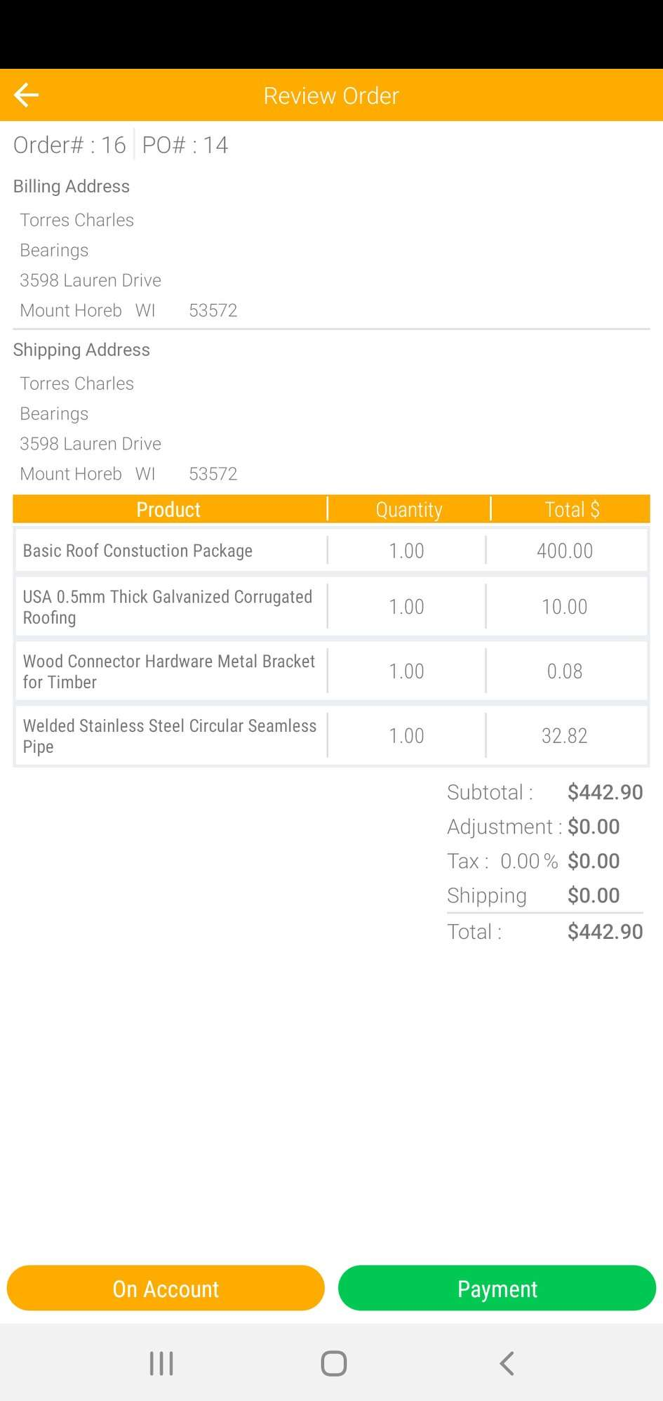 AdvancePro review order details
