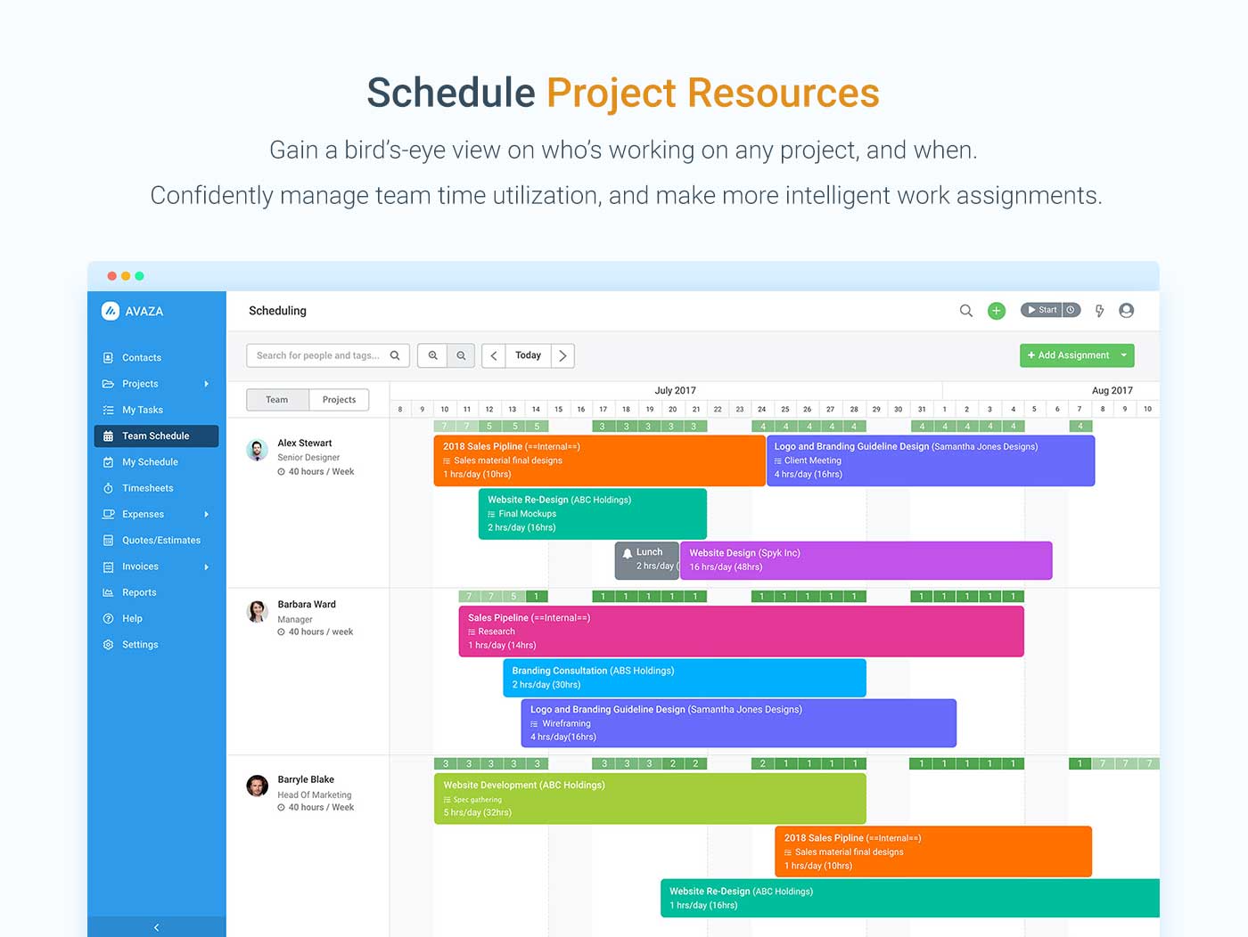 Access resource scheduling, and schedule projects based on team availability.