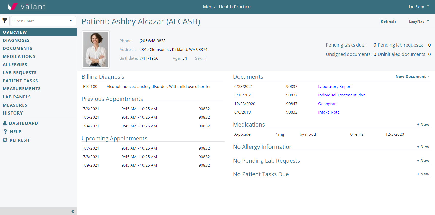 Get all the pertinent patient information in one screen, including demographic data, billing information, previous and upcoming appointments, medication, lab,  and allergy information, and more.