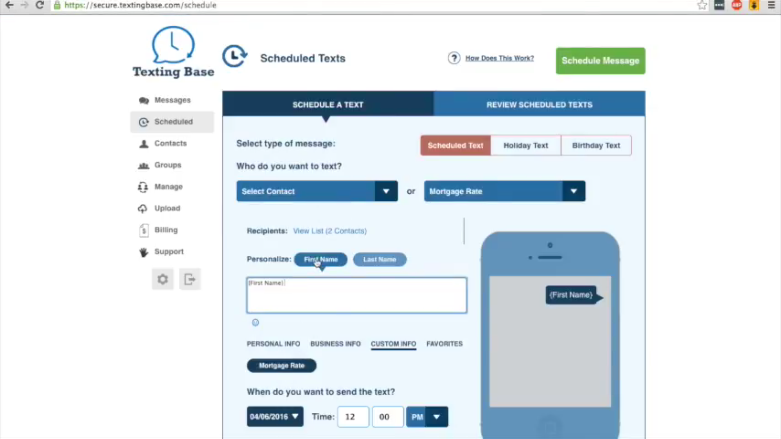 The Schedule A Text screen allows personalized messages to be drafted, scheduled and previewed
