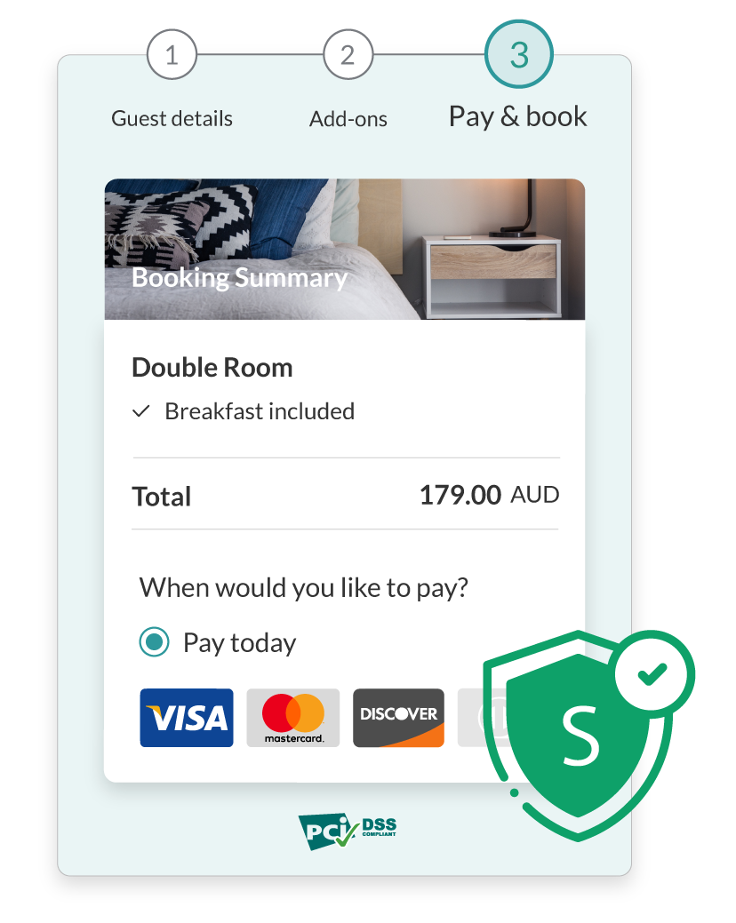 Mobile-first - capture every opportunity on-the-go with a seamless and secure 3-step guest booking experience in the palm of their hands.