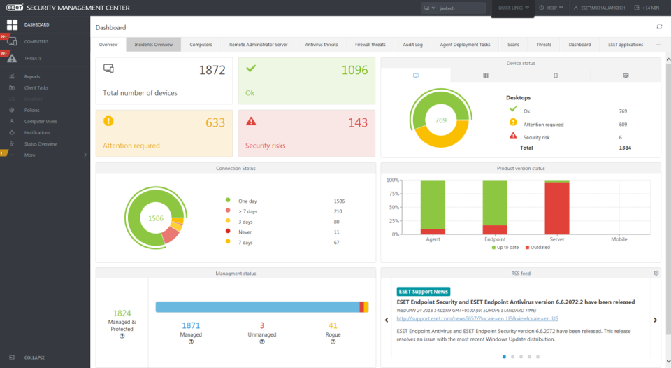 ESET Endpoint Security management center screenshot