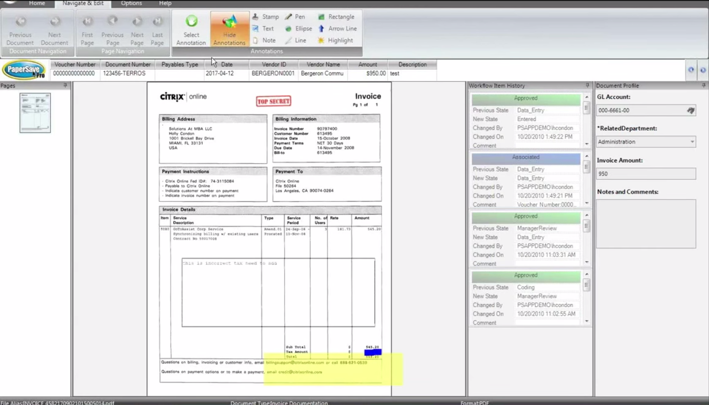 PaperSave Software - Document annotation
