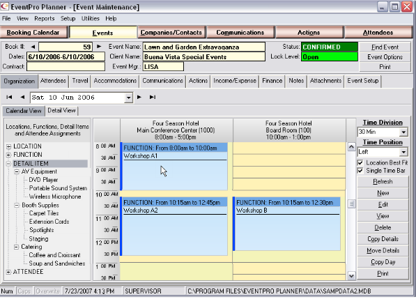 Add functions to events in EventPro Planner