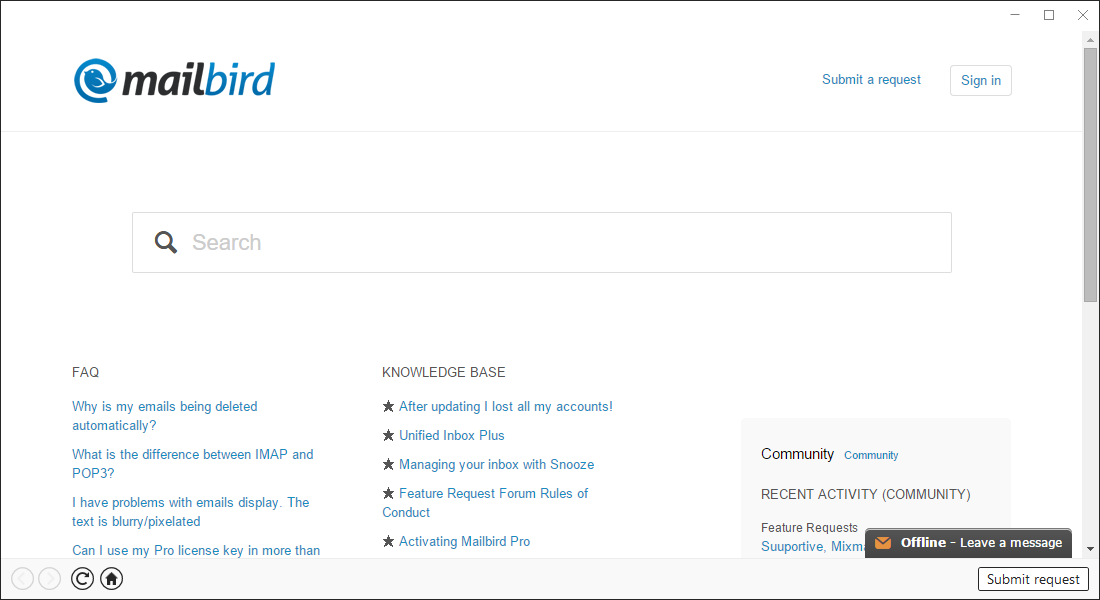 MailBird Software - Submit request