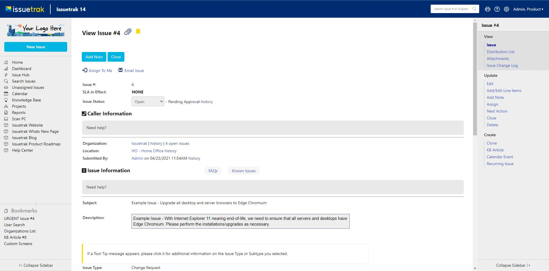 Issuetrak Software - Issuetrak Detailed Issue View