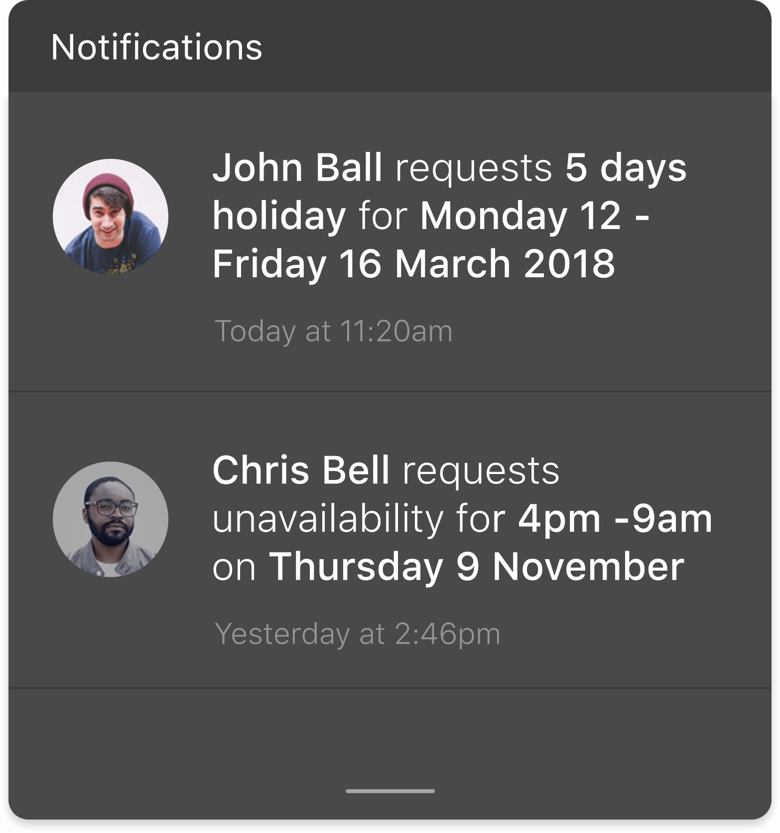 Managers received notifications when employees make shift change or time off requests