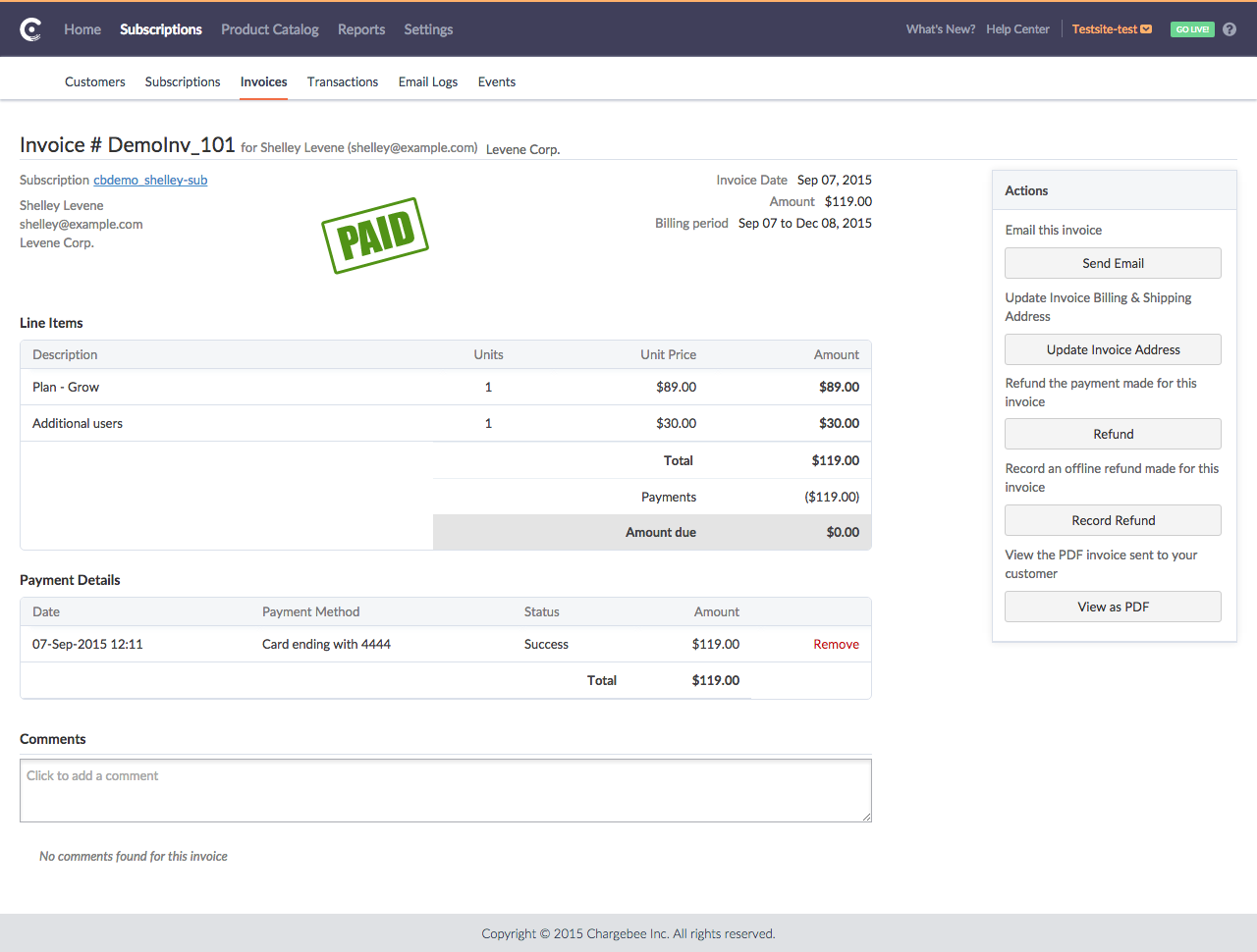 Chargebee Software - Chargebee Invoice Details