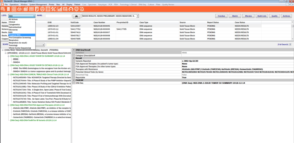 Psyche Systems result manager screenshot