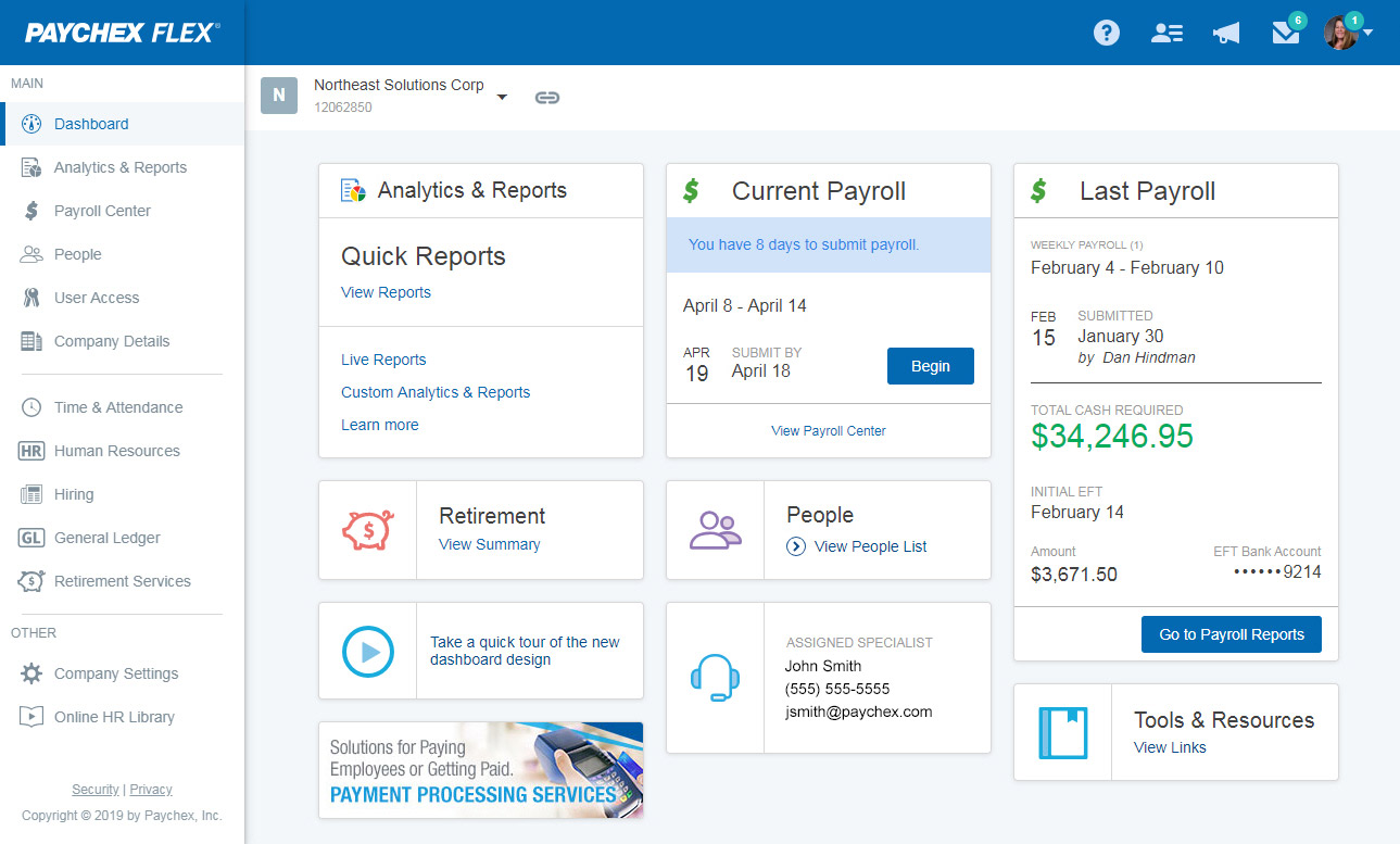 Paychex Admin Dashboard