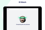 Proxyclick screenshot: Protect your people and intellectual property: with facial recognition technology, verify the identity of your visitors by matching their document with the picture taken from the tablet.