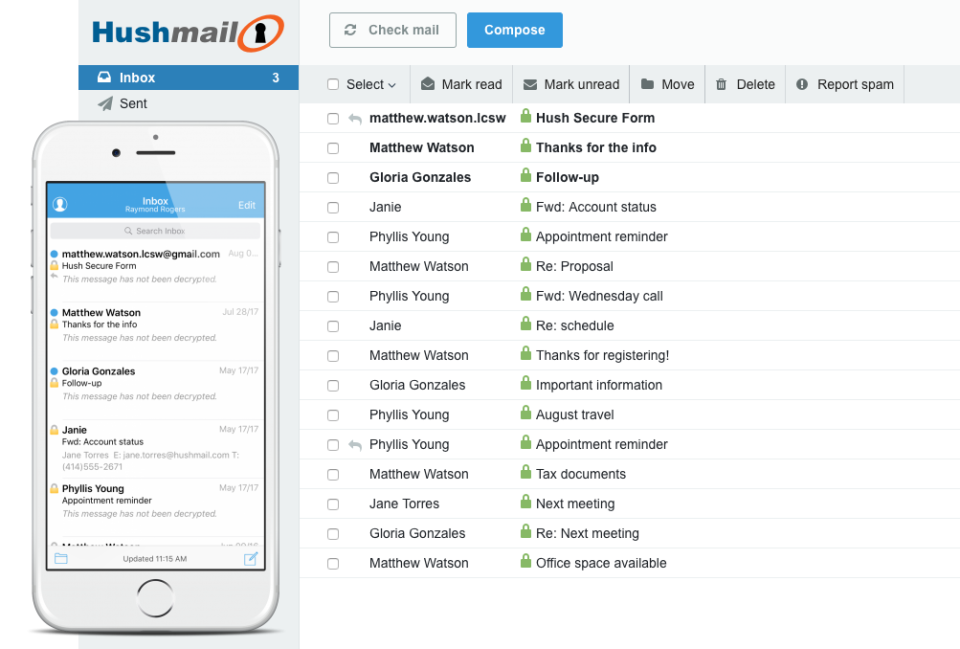 Hushmail encrypted email communication