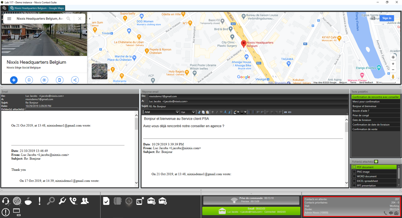 Nixxis Contact Suite viewing customer data.